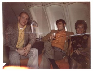 My dad, Mike (in orange) - First time on an airplane with his best friend, Norm.