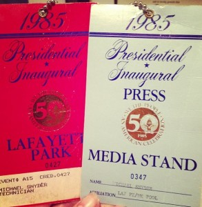 Dad's work tags #presidential #inauguration Raegan / Bush January 20-21, 1985