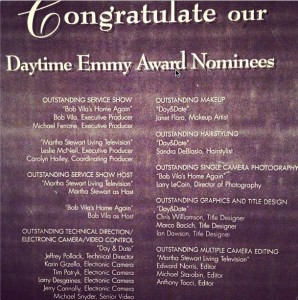 "Daytime #Emmy Award Nominees 1996 - my dad Mike Snyder (Senior Video) for outstanding technical direction / electronic camera / video control for the TV show ""Day & Date""."